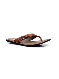 Mens Tan Leather Casual Slippers