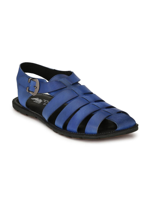 Mens Easy Comfort Blue Leather Sandals