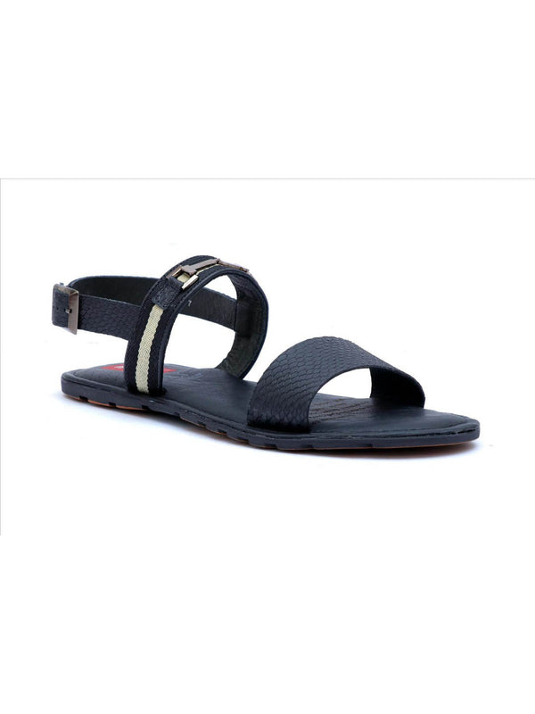 Haveit - 3407 Black Leather Sandals