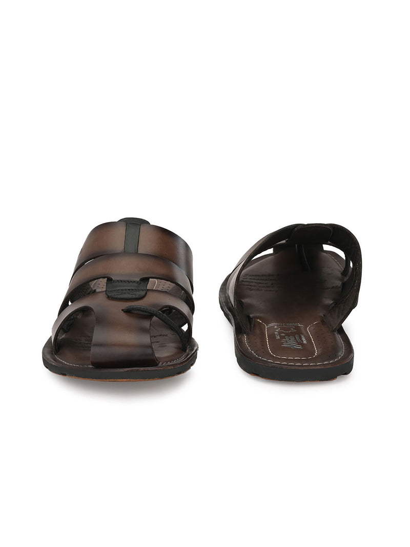 Hitz Pamiano Brown+Black Slippers For Men
