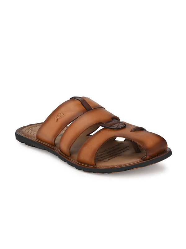 Hitz Pamiano Tan+Brown Sandals For Men