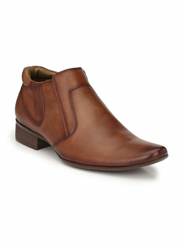 Men Brown Leather High Top Shoes