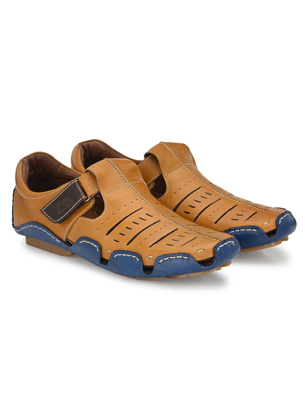 Hitz Tan+Blue Velcro Luxure Sandals