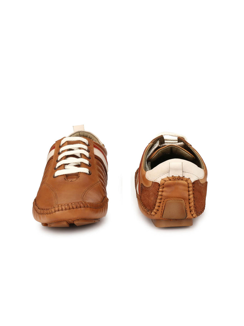 Men Tan Lace-up Leather Driving Shoes