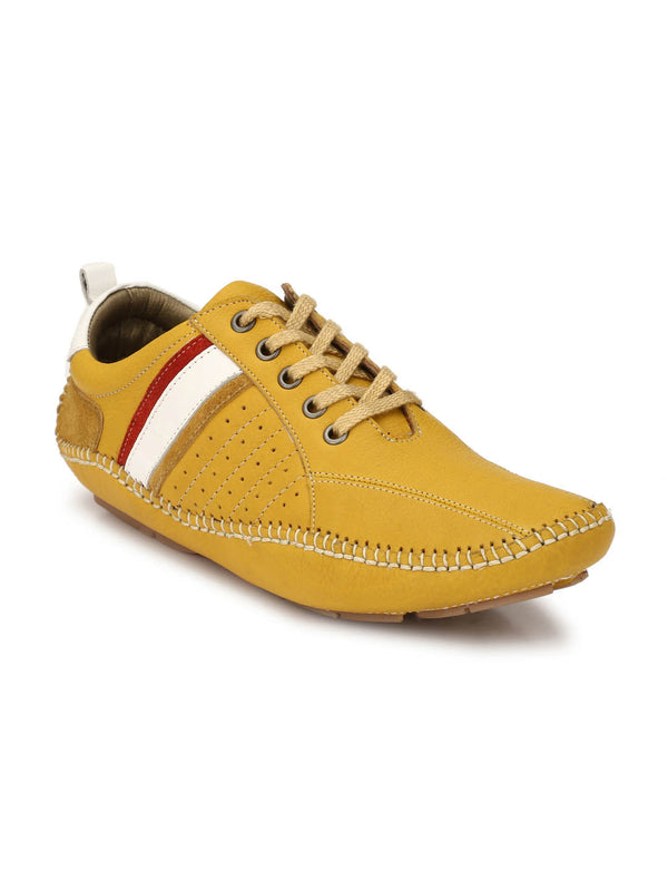 Men Yellow Lace-up Leather Driving Shoes