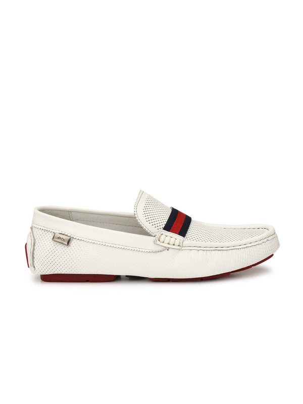 Driving - 371 White Leather Loafers