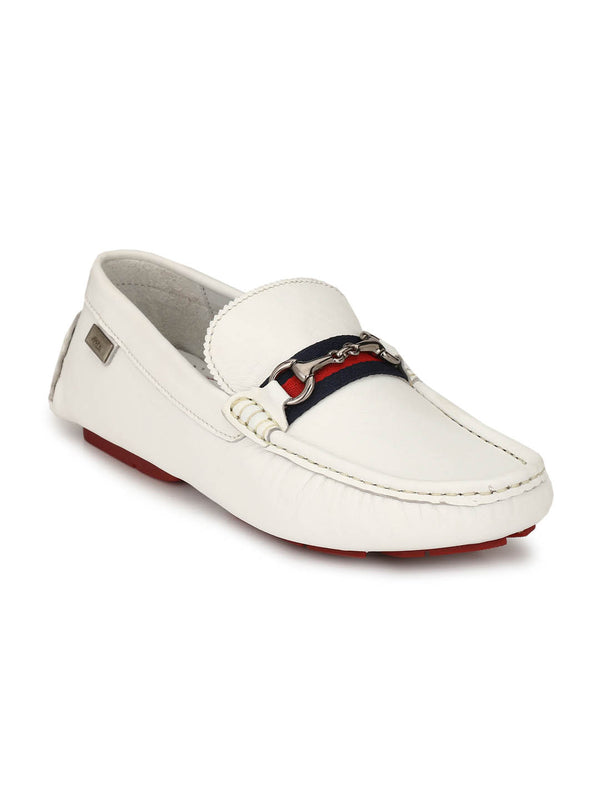 Men Genuine Leather White Loafers