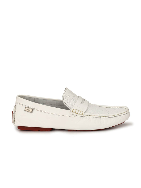 Driving - 373 White Leather Loafers