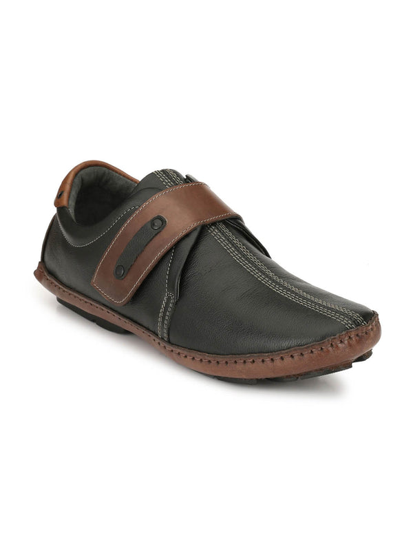Men Black Velcro Style Slip-On shoe Loafers