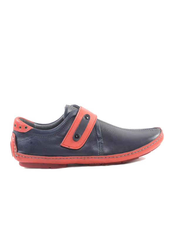 Driving - 374 Blue + Red Leather Loafers
