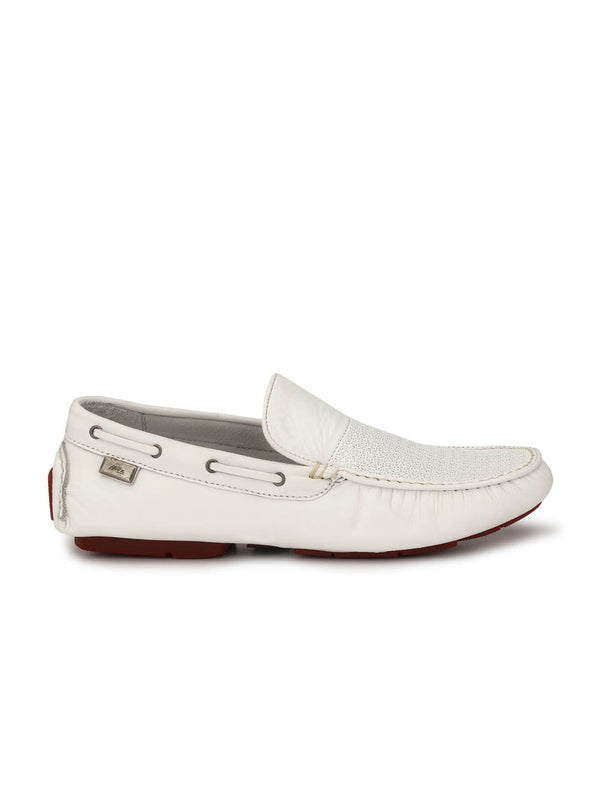 Men White Leather Comfort Loafers
