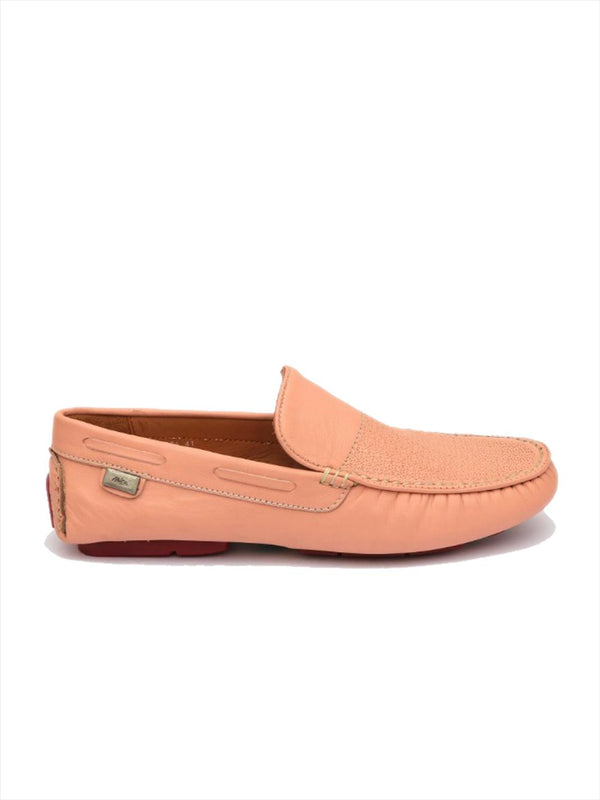 Men Pink Leather Comfort Loafers