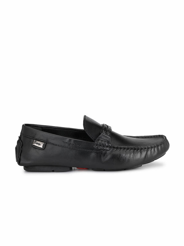 Men Black Leather Comfort Loafers