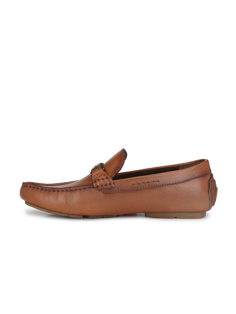 Men Tan Leather Comfort Loafers
