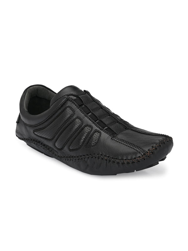 Hitz Men Black Leather Driving Shoes