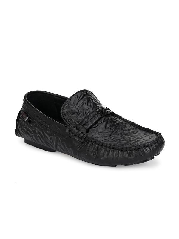 Hitz Deny Black Loafers For Men