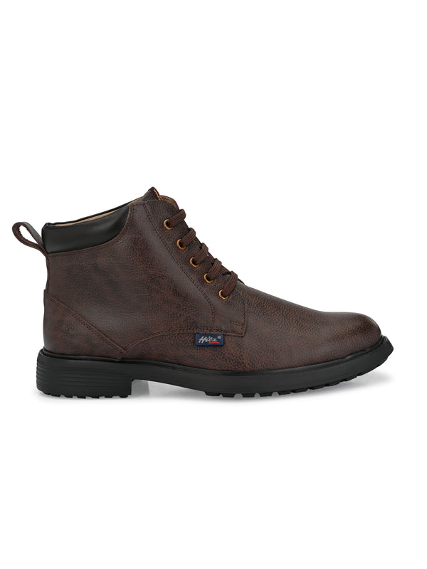 Hitz Men Brown Derby Leather Boots