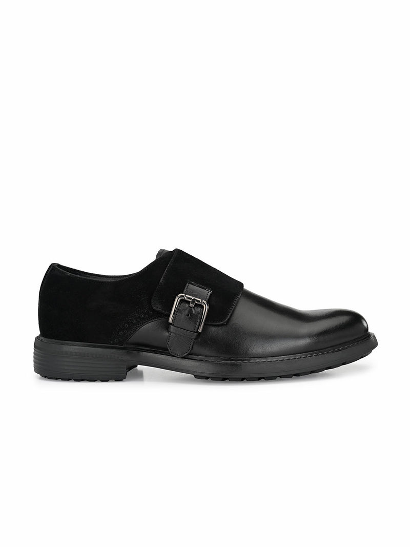 Hitz Men Black Leather Monk Shoes
