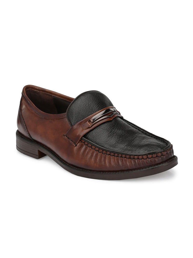 Hitz Men Brown Leather Slip-On Shoes
