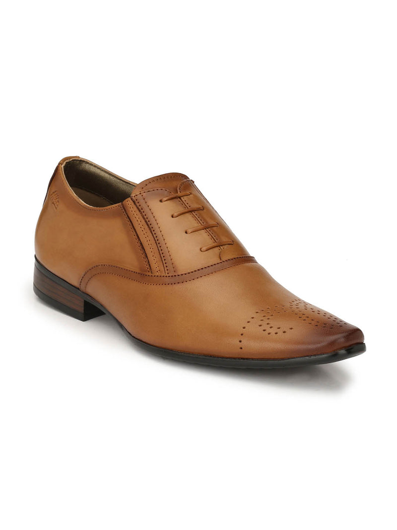 Men Tan Leather Formal Derby Shoes