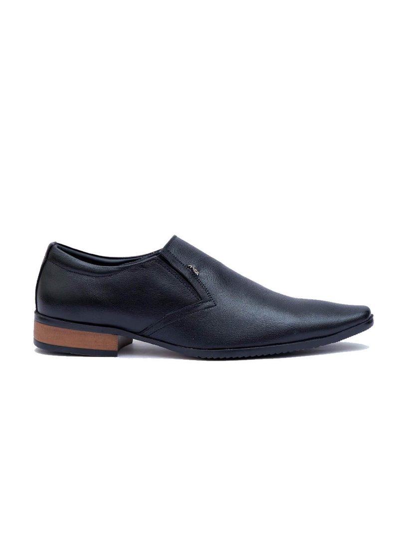 Men Black Leather Slip-on Shoes
