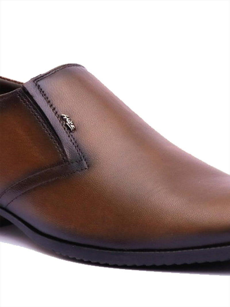 Men Tan Leather Slip-on Shoes