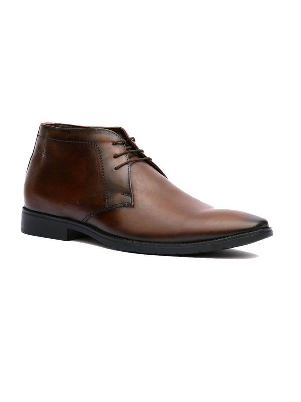Men Semi-Formal Brown Leather Derby Shoes