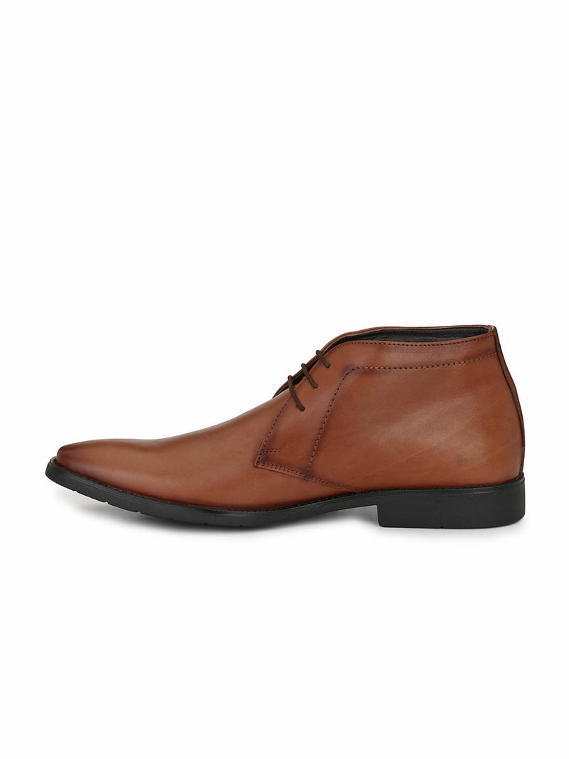 Men Semi-Formal Tan Leather Derby Shoes