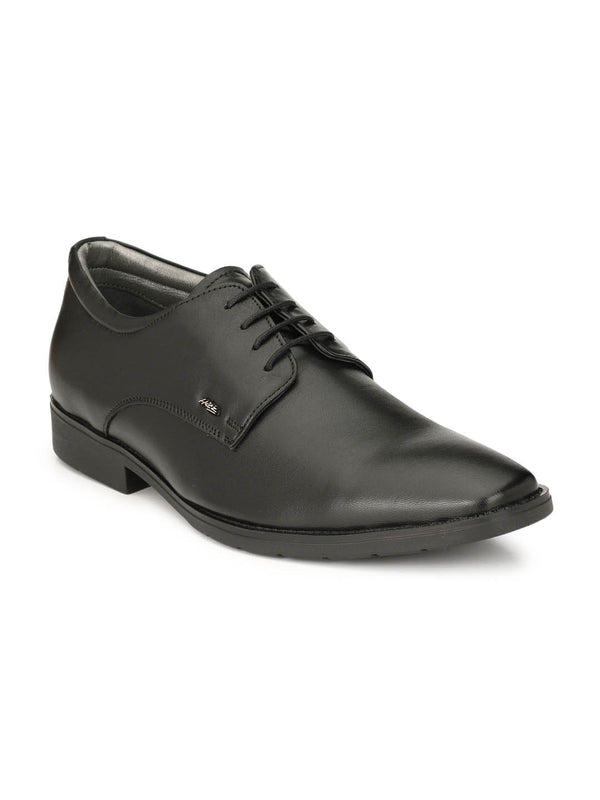 Men Genuine Black Leather Derby Formal Shoes