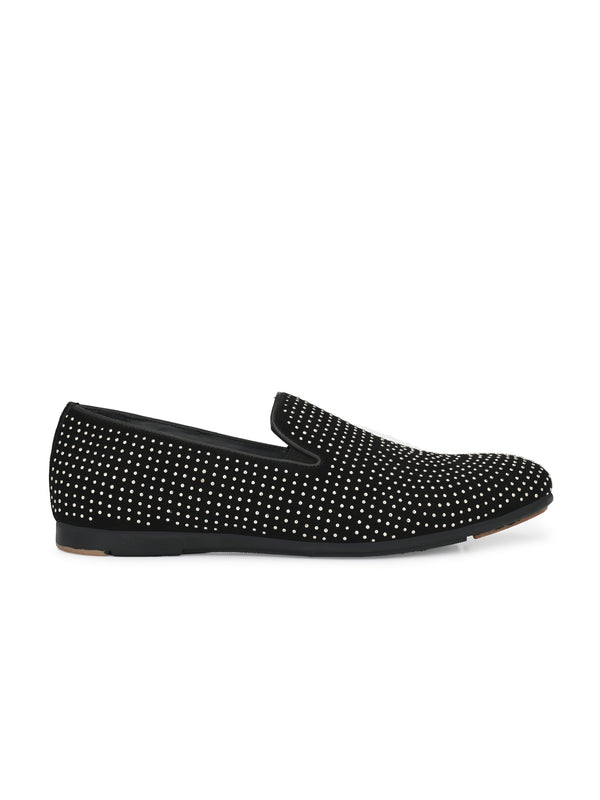 Hitz_Black Genuine Leather Party Wear Slip_On Shoes for Men