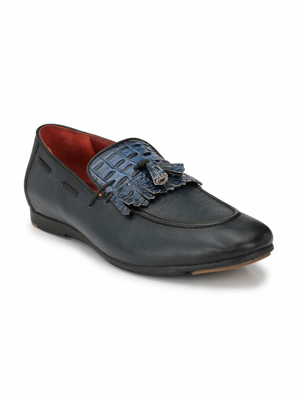 Black Tassel Blue Leather shoes