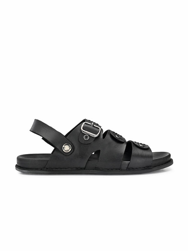 Men Black Leather Formal Sandals