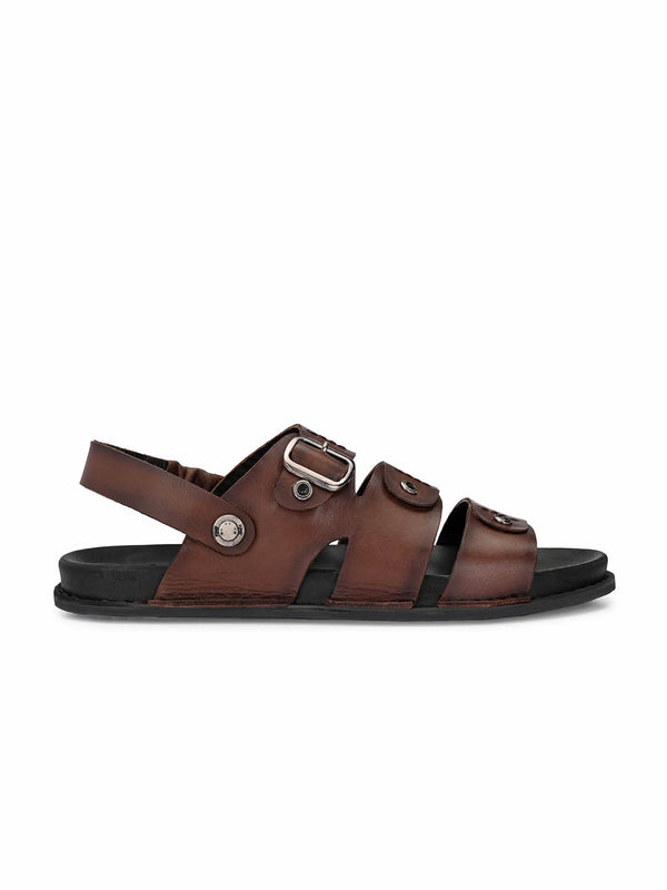Men Brown Leather Formal Sandals