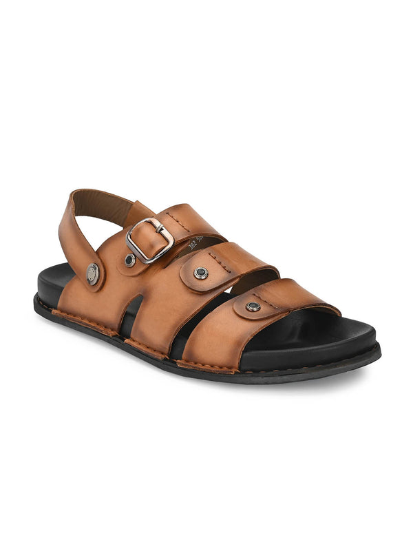 Men Tan Leather Formal Sandals