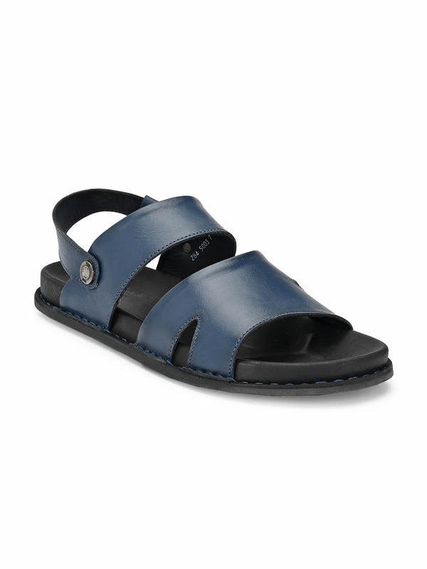 Men Blue Solid Leather Sandals