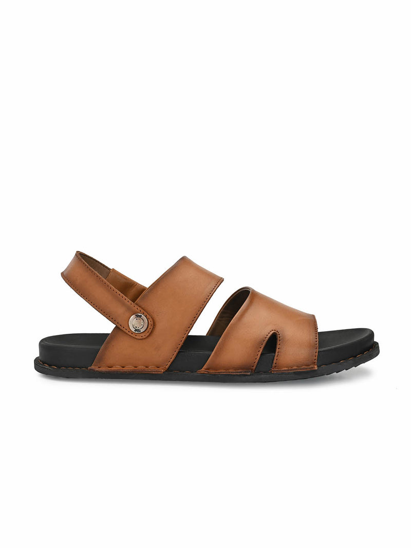 Men Tan Solid Leather Sandals