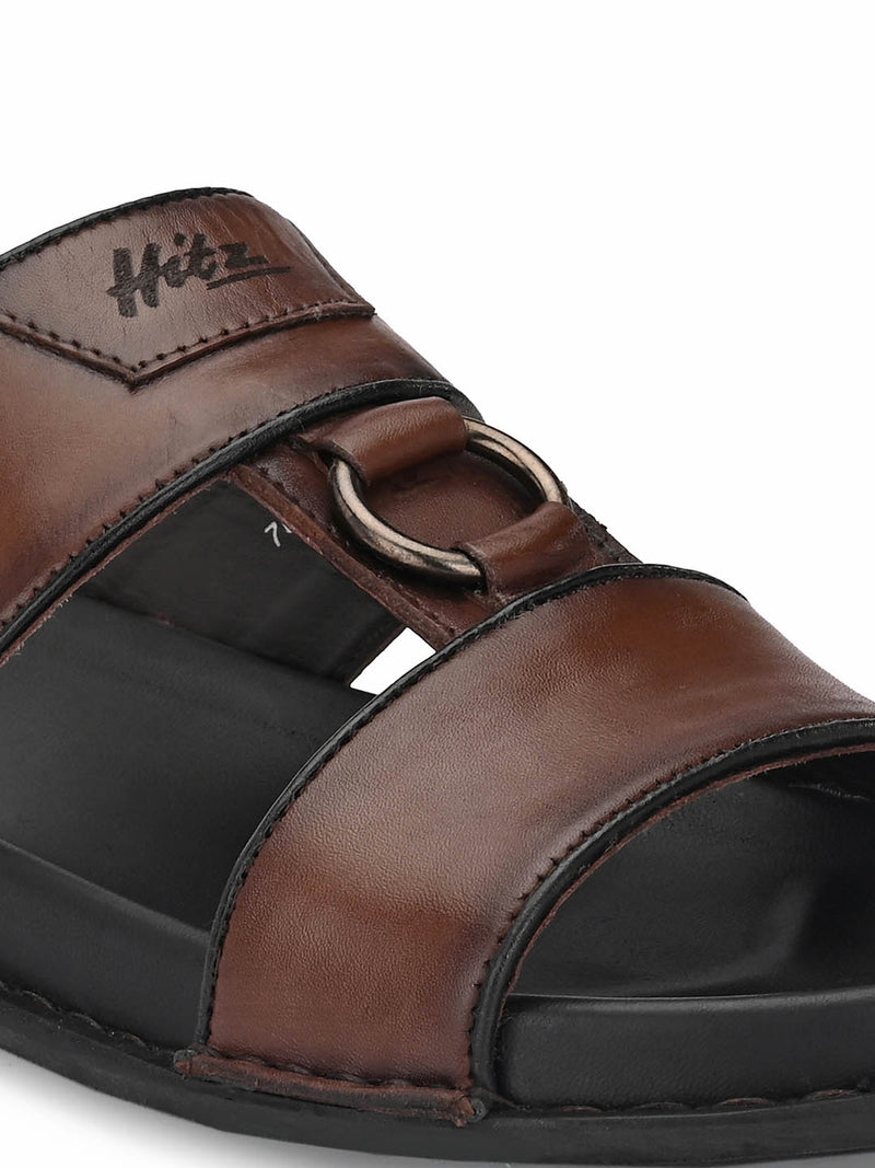 Men Sofitel Brown Leather Slippers
