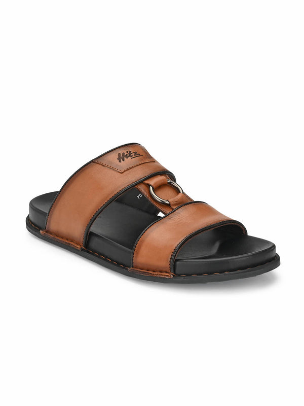 Sofital - 5005 Tan + Brown Leather Slippers