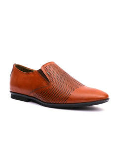 Men Semi-formal Tan Leather Slip-On Shoes