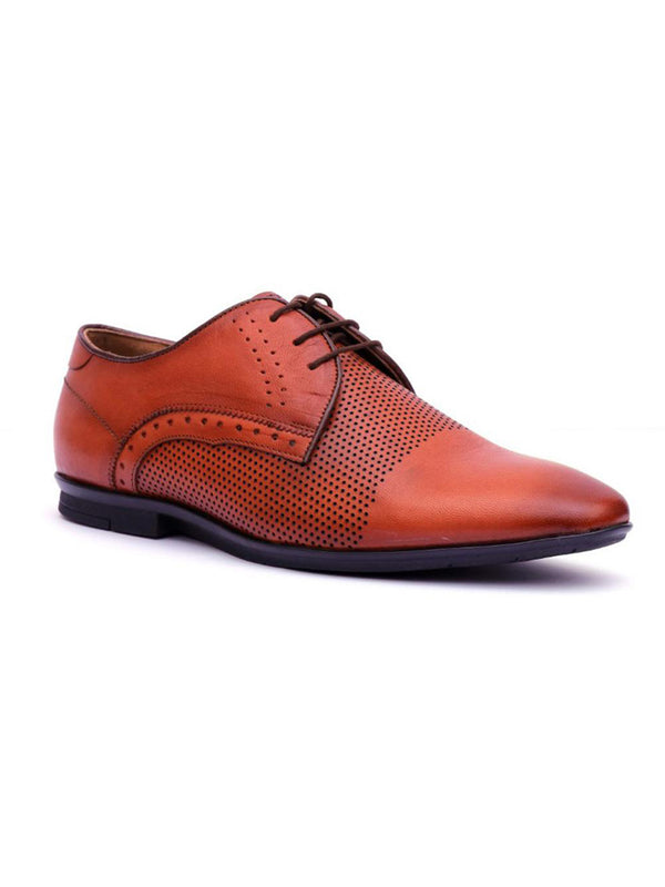Men Tan Laser cut Leather Shoes