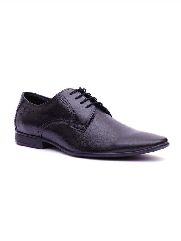 Men Black Leather Derby Shoes