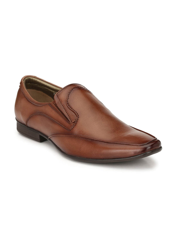 Men Brown Leather Slip-on Shoes