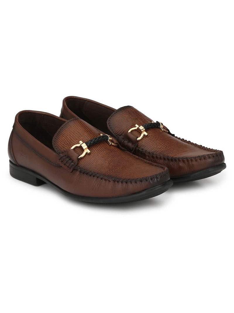 Men Brown Buckle Leather Slip-on Loafers