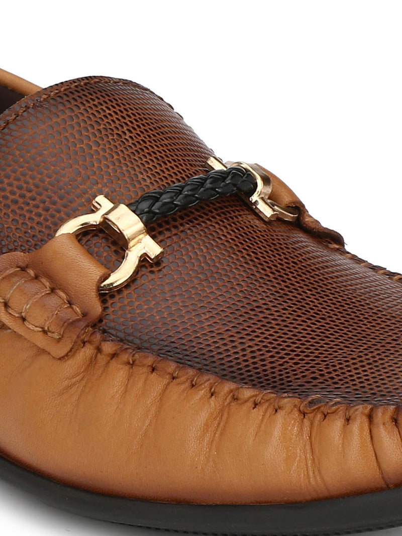 Men Tan Buckle Leather Slip-on Loafers