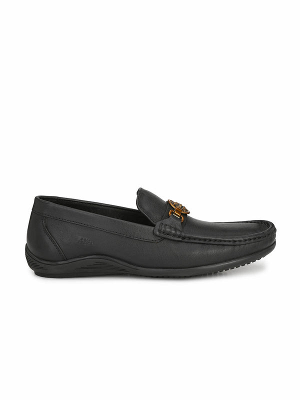 Men Black Leather Buckle Slip-On Loafers