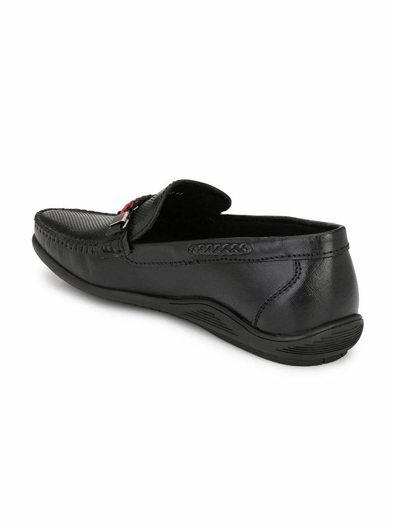 Men Black Leather MOCCASSINS Loafers