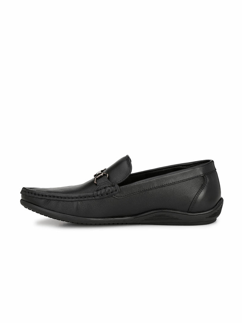 Men Black Buckle Leather MOCCASSINS Loafers
