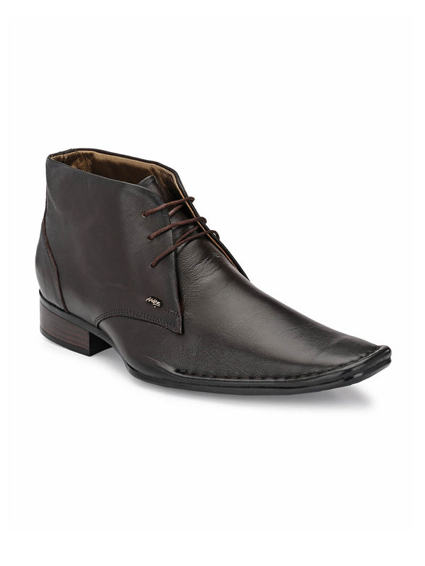 Men High Ankle Brown Leather shoes