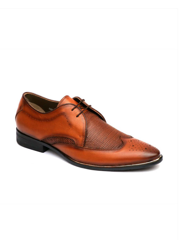 Men Tan Mate Leather Formal Derby shoes