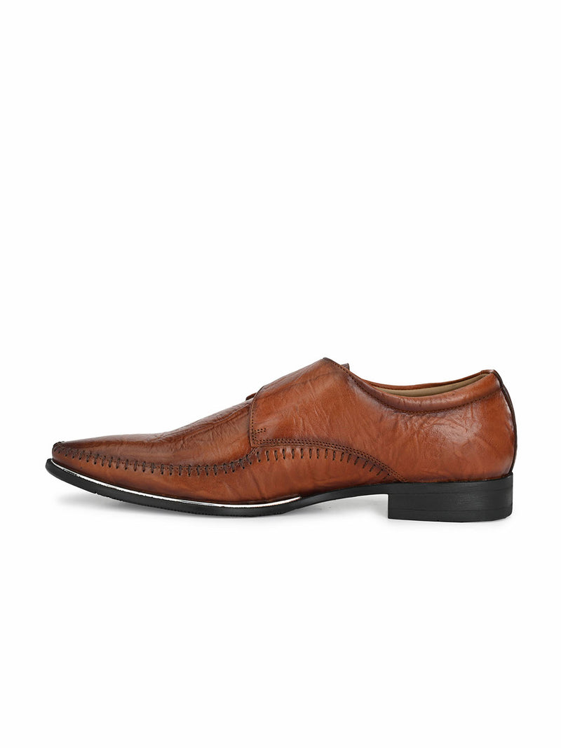 Men Tan Leather Classic Monk Strap Shoes